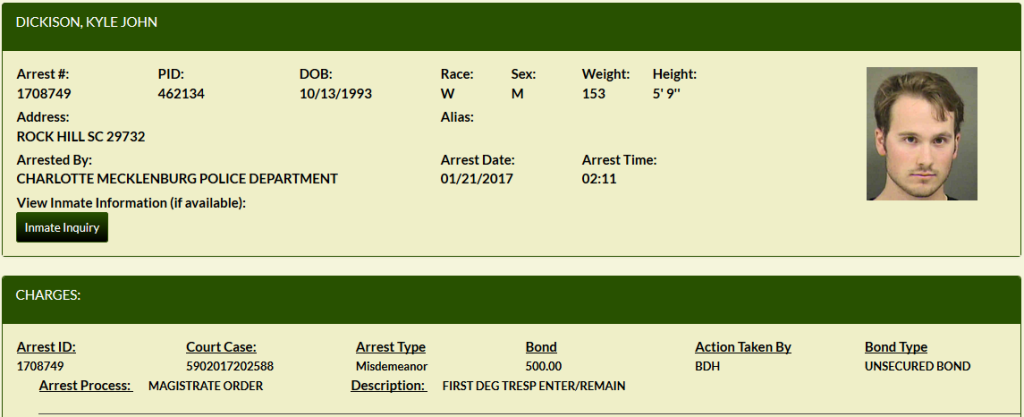 Kyle Dickison Arrest Report